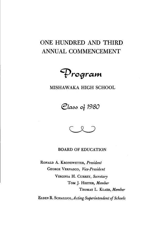 M.H.S. Class of 1980 Commencement Program Page 1